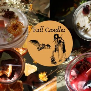 Fall Candles with Crystals and Botanicals